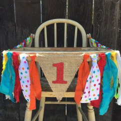 High Chair Decorations 1st Birthday Boy Making Covers For Wedding Banner Circus First