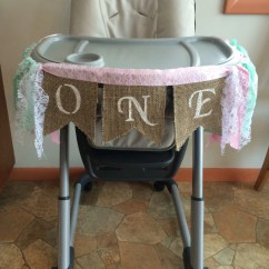 High Chairs For Girls Patio Chair Covers Banner First Birthday Girl One Year Old