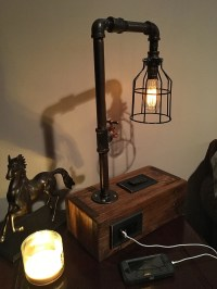 Rustic Industrial Table Lamp w/ 2 USB Chargers and Outlet