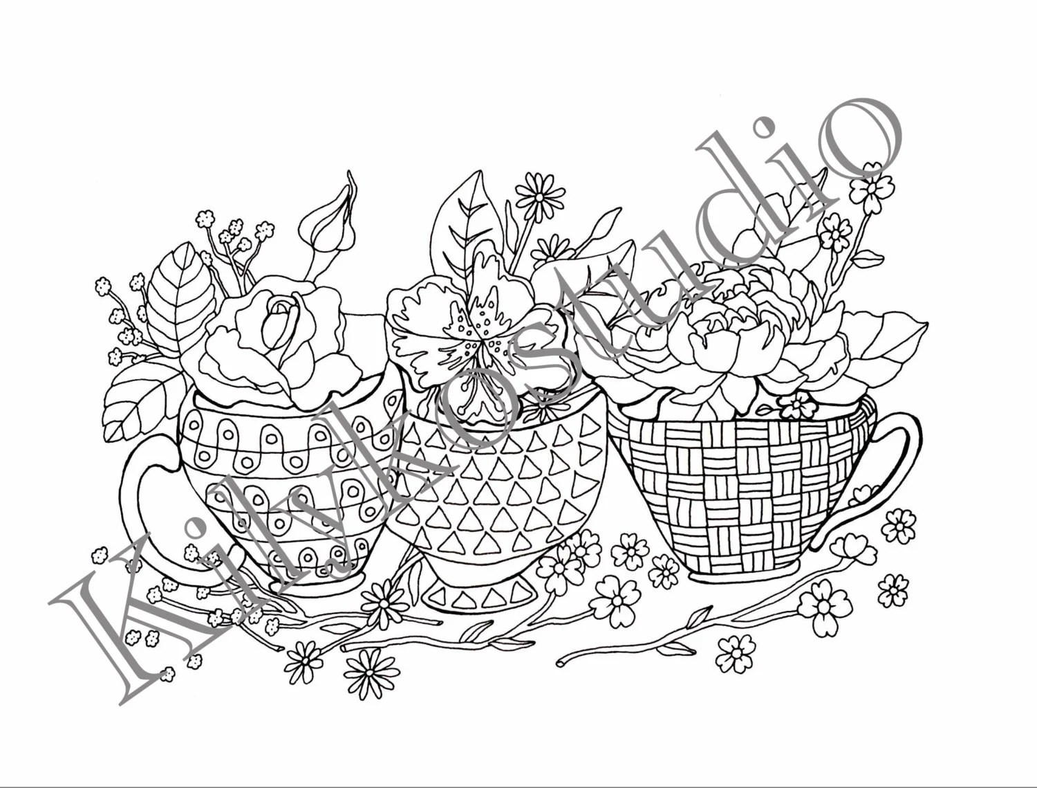 tea cups and flowers adult coloring pages instant digital