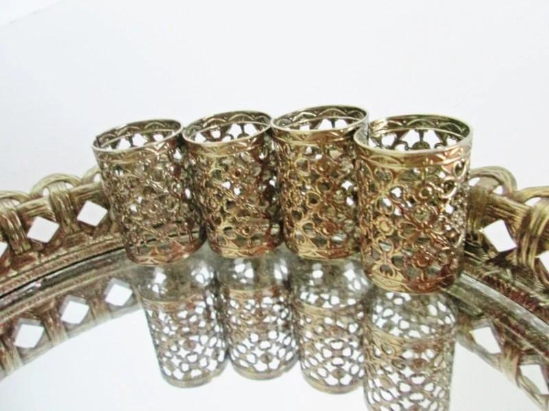 Filigree Vanity Mirror Tray Gold Metal Lipstick Holder Round
