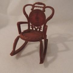 Small Plastic Chair King Folding Dollhouse Rocking Vintage Miniature Rocker Brown