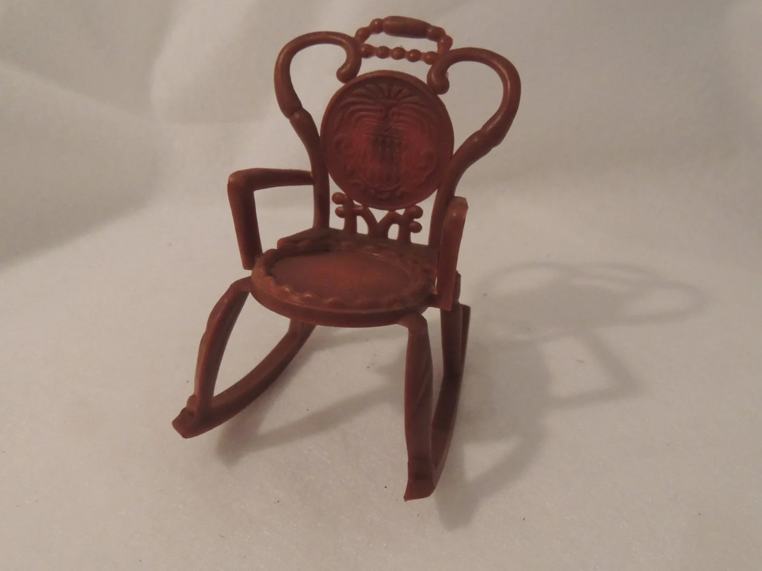 Small Rocking Chair Dollhouse Rocking Chair Vintage Miniature Rocker Brown