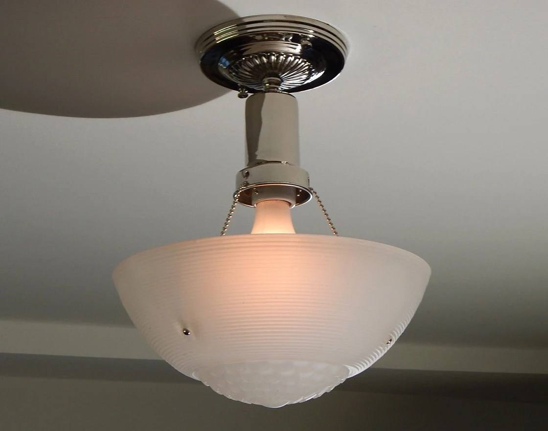 War Era Beaded Chain Ceiling Fixture Vintage Glass Shade With