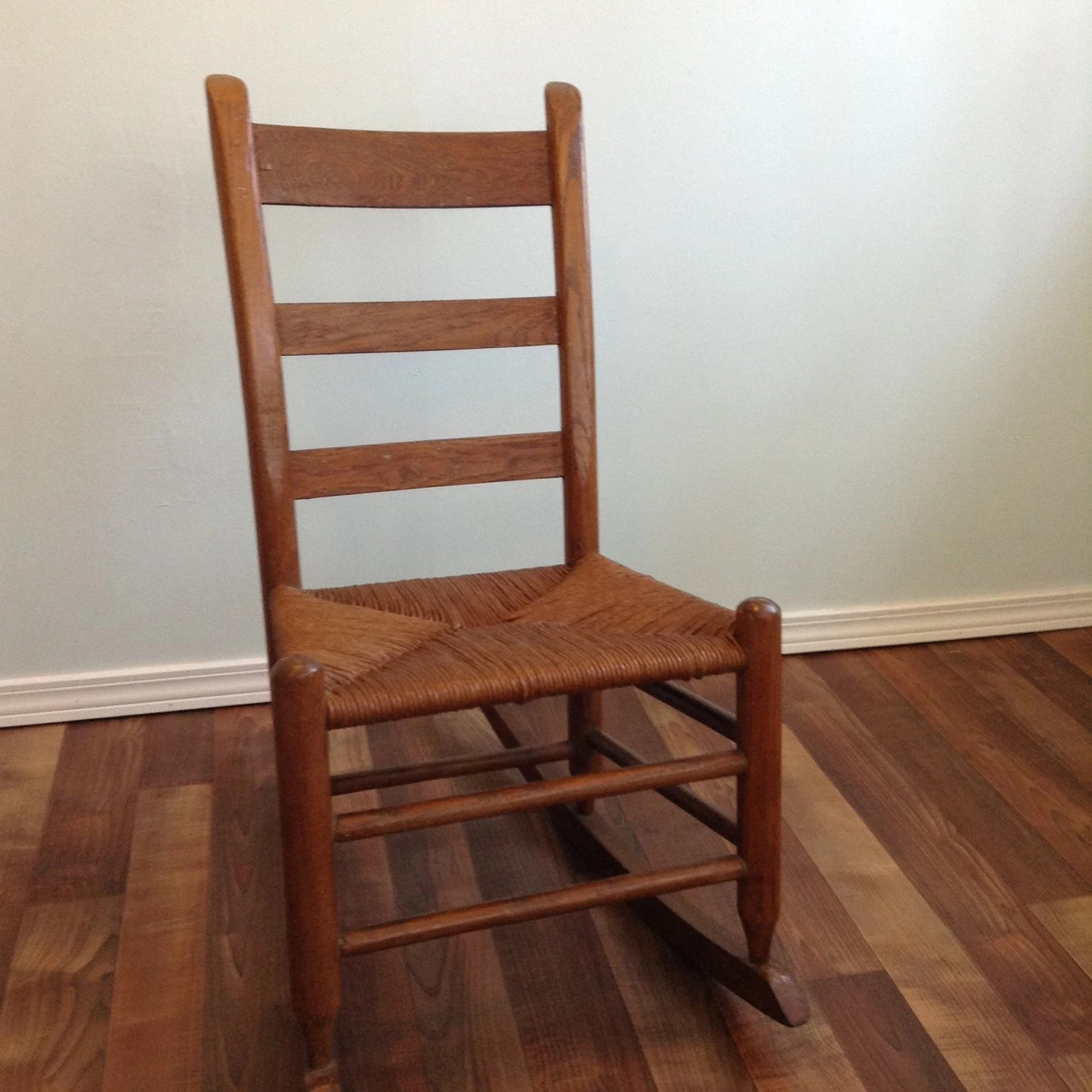Small Rocking Chair Early Ameican Rush Seat Small Rocking Chair Oak Wood Ladder