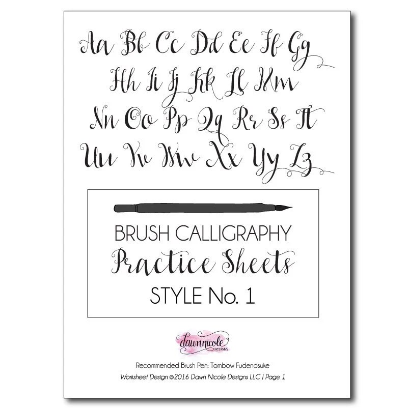 ON SALE Brush Calligraphy Practice Worksheets: Style 1