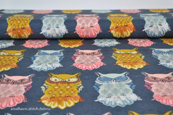 Owl Fabric Nightfall Art Bird Of Night