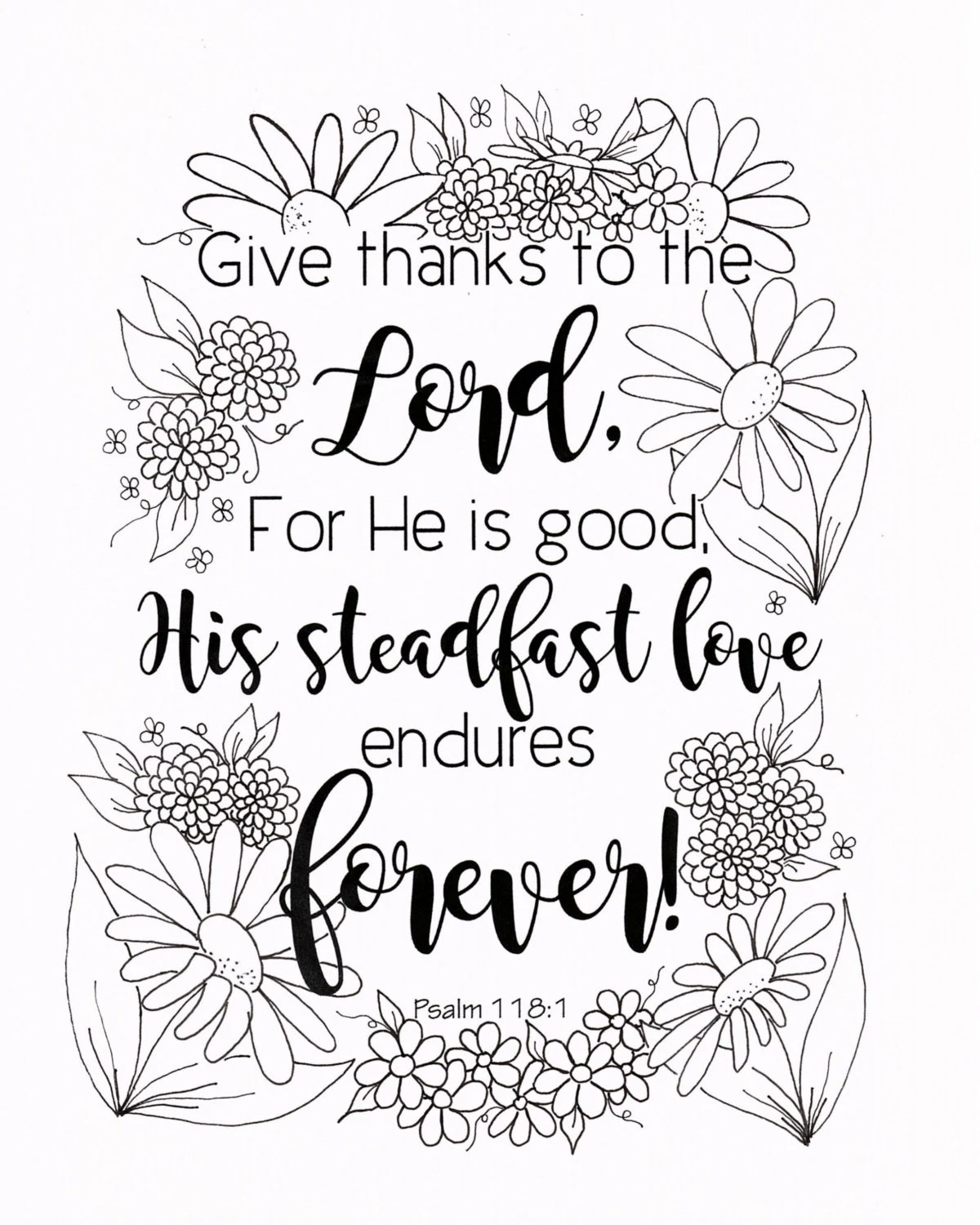 Give Thanks Coloring Page, Psalm 118:1 Bible Verse