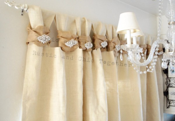 Burlap Curtain Rhinestone Jewelry Champagne Wide