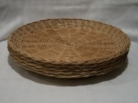 Wicker Paper Plate Holders LOT OF 5 Vintage Natural Rattan