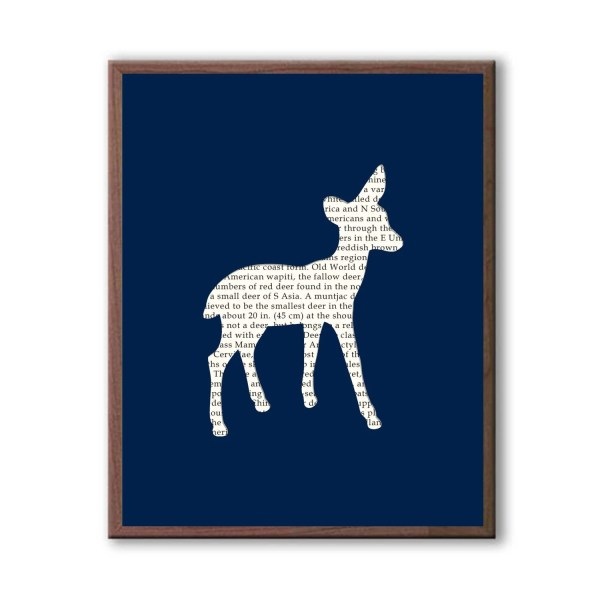 Navy Blue Deer Silhouette Art Print Decor Kids