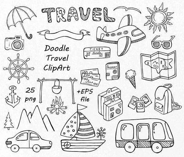 BIG SET of Doodle Summer cliparts, Hand drawn vacation