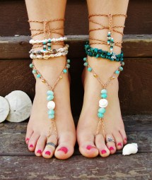 Beach Boho Shell Beaded Wedding Barefoot Sandals Footless
