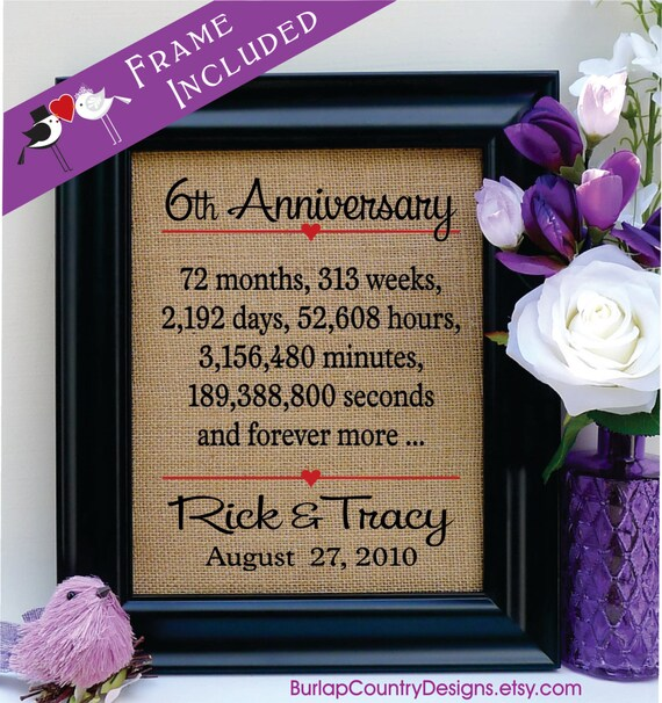 6th Anniversary Gift 6th Wedding Anniversary Gift 6th