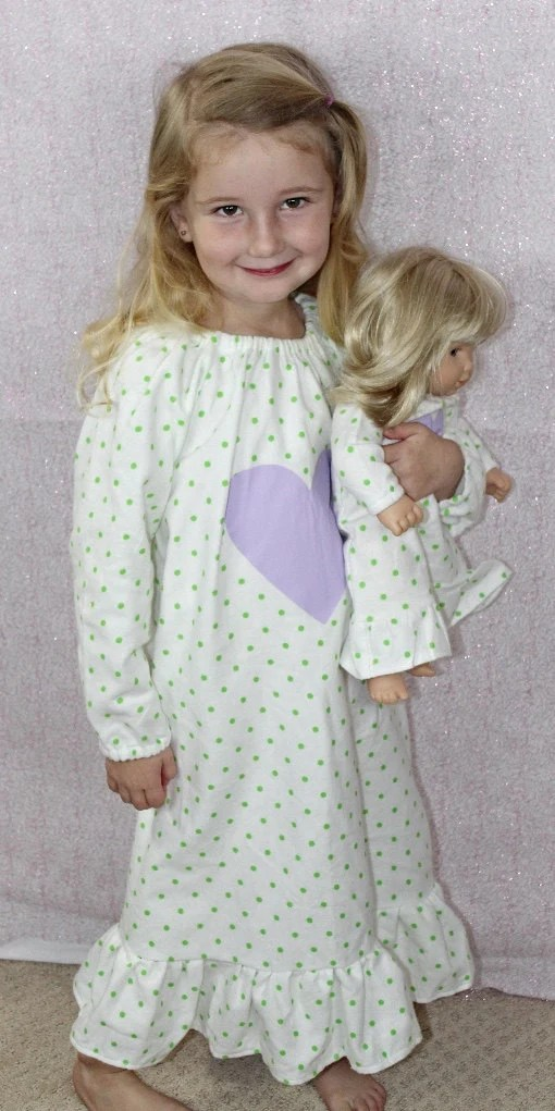 Size 1012 Large Girl and Doll Matching Nightgown Dollie and