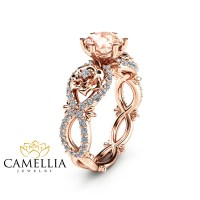 Peach Pink Morganite Engagement Ring in 14K Rose Gold Unique