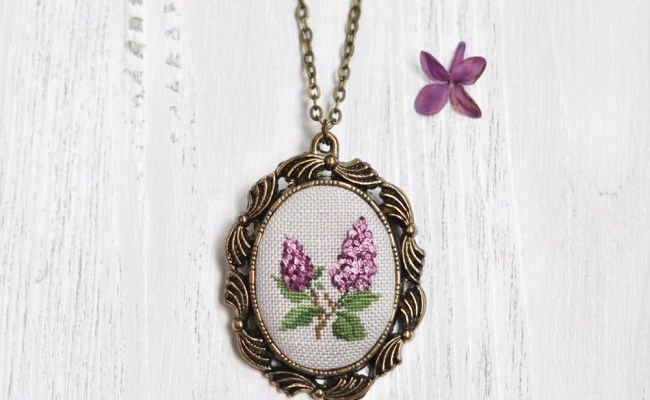 2nd Anniversary Gift For Her Lilac Necklace Cotton Wedding