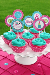 Girls Spa Birthday Party PRINTABLE Cupcake Toppers pedi
