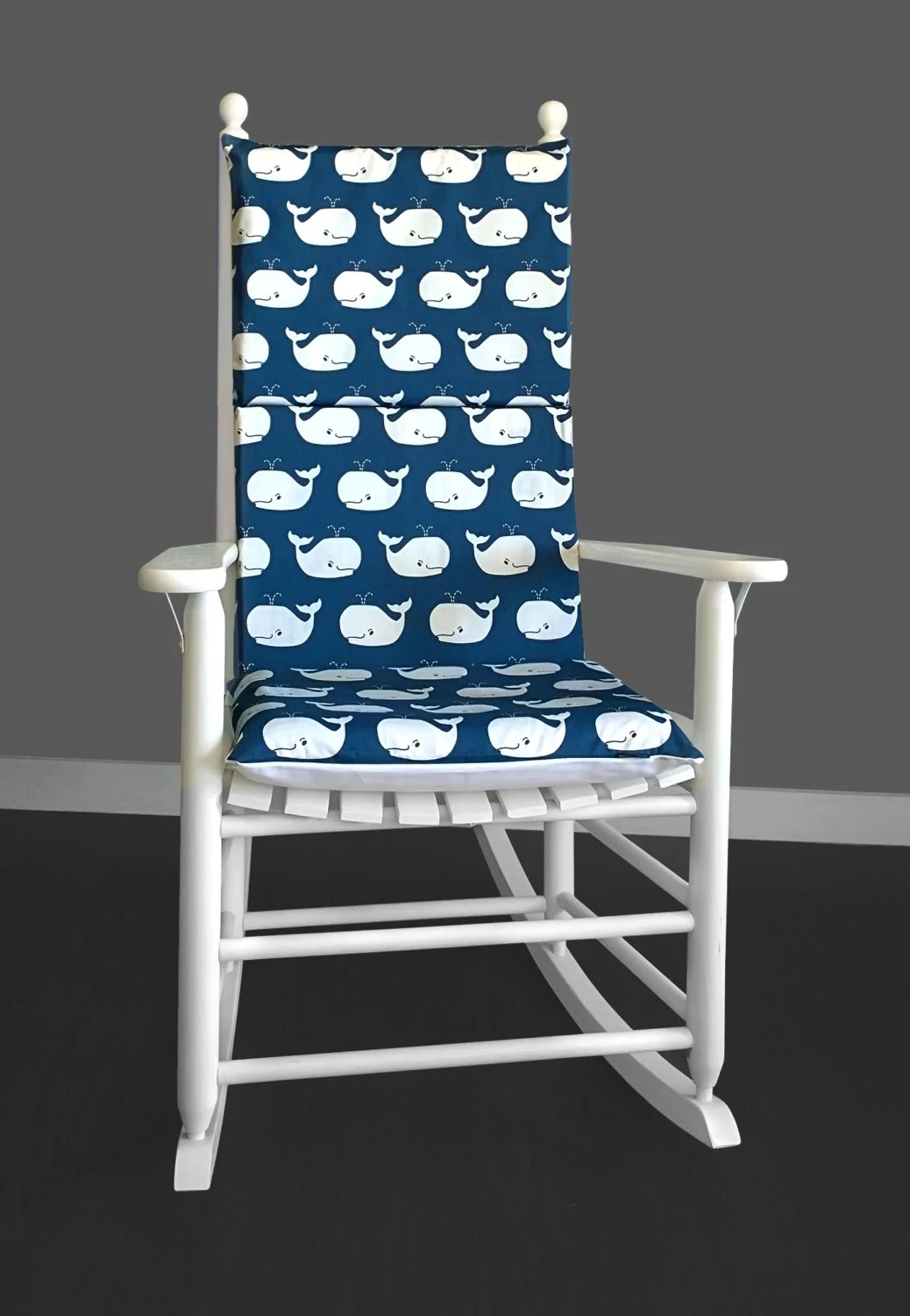 Navy Rocking Chair Kids Nursery Room Rocking Chair Cushion Cover Whales Rocking