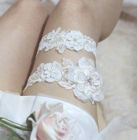 Ivory lace garter set rustic wedding garter set by ...