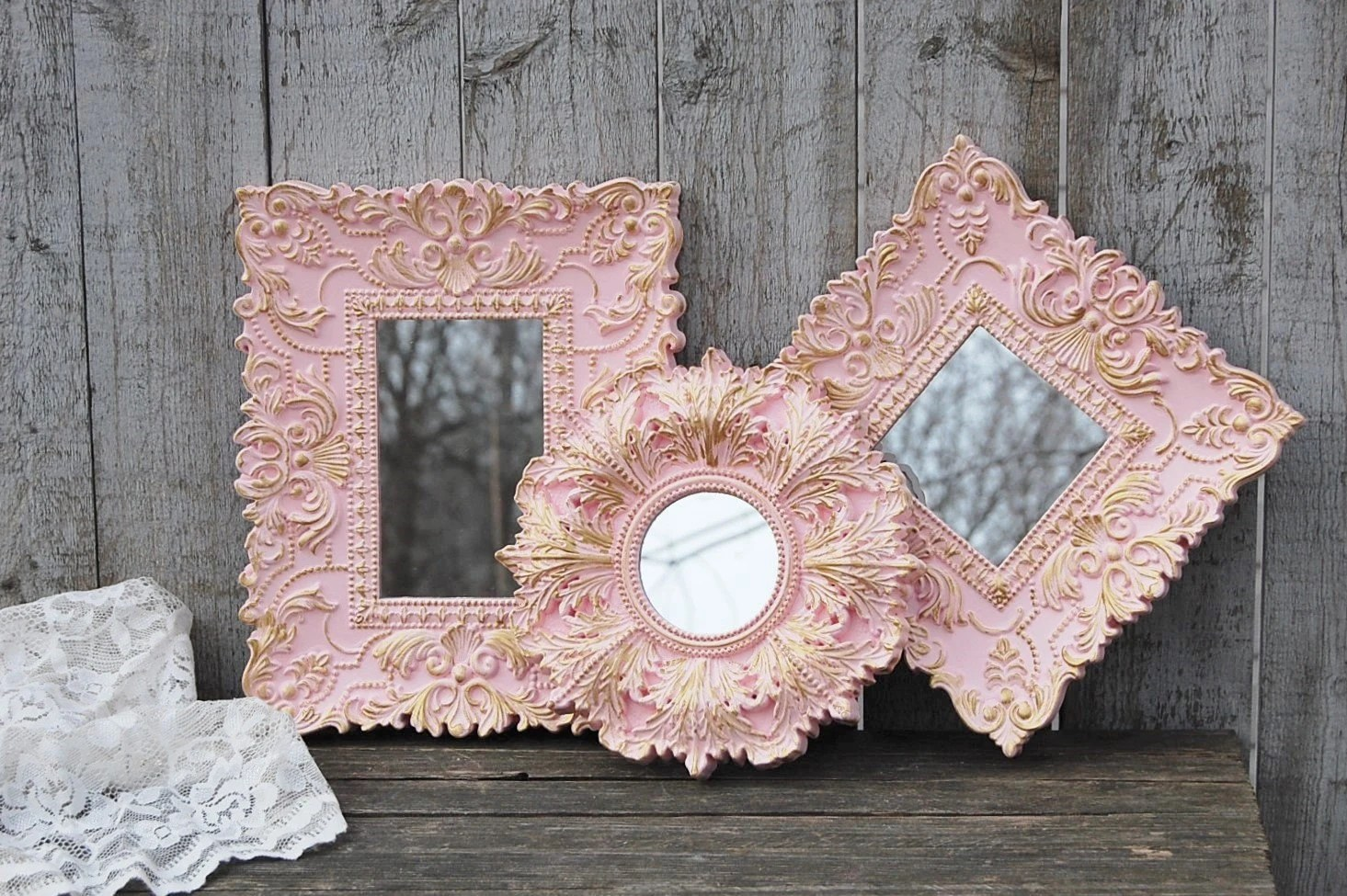 Shabby Chic Mirrors Set Wall Mirror Pink Gold Ornate