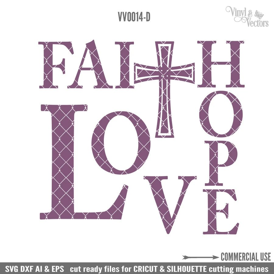 Download Faith Hope Love with Cross Commercial Use svg dxf ai and Eps