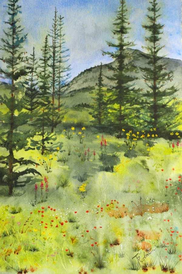 Large Fine Art Painting Watercolor Landscape