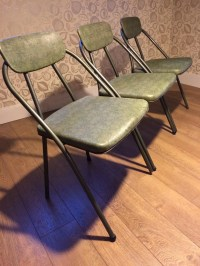 Vintage Folding Chairs Mid Century Modern Metal Set of 3