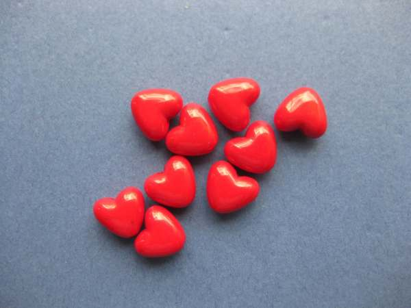 Heart Beads Red Hearts