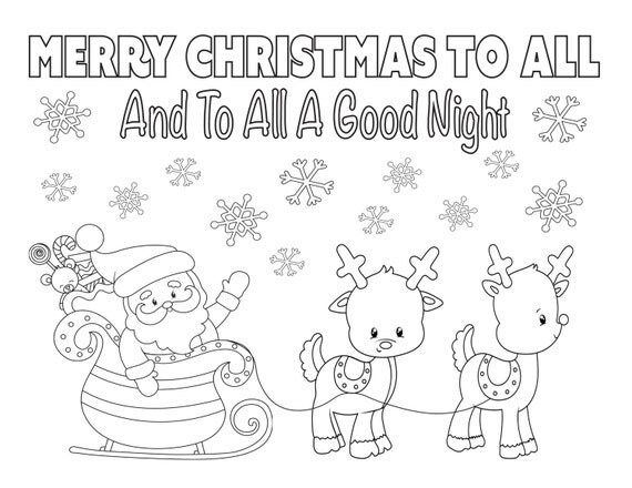 Christmas Coloring Page 8.5x11 Instant Download Printable