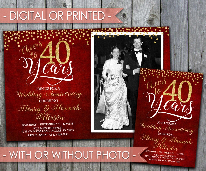 40th Wedding Anniversary Invitation Wedding Anniversary