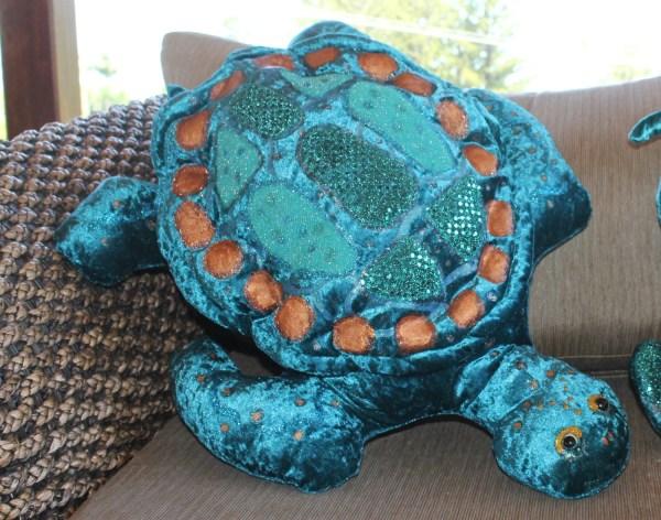 Turtle Cushionturtle Large Shaped Pillow Nautical Teal Green