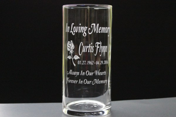Custom Etched Memorial Candle Holder Glass Vase