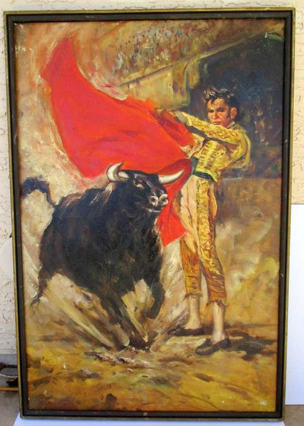 Vintage Matador Bullfighter Oil Painting Bull Fighting Spanish