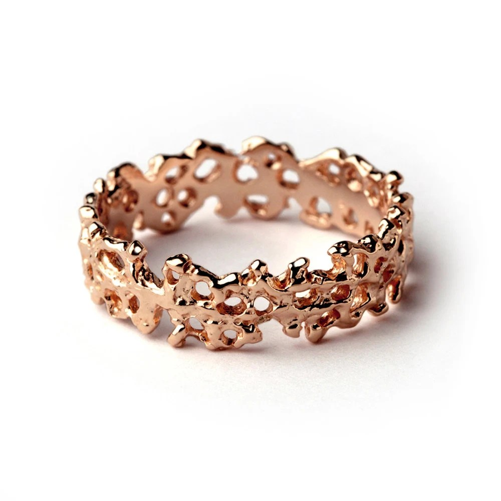 CORAL 14k Rose Gold Wedding Band Unique Wedding Band Ring