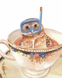 Owl Watercolor PRINT Art Teacup Dive Mask Nursery Art Open