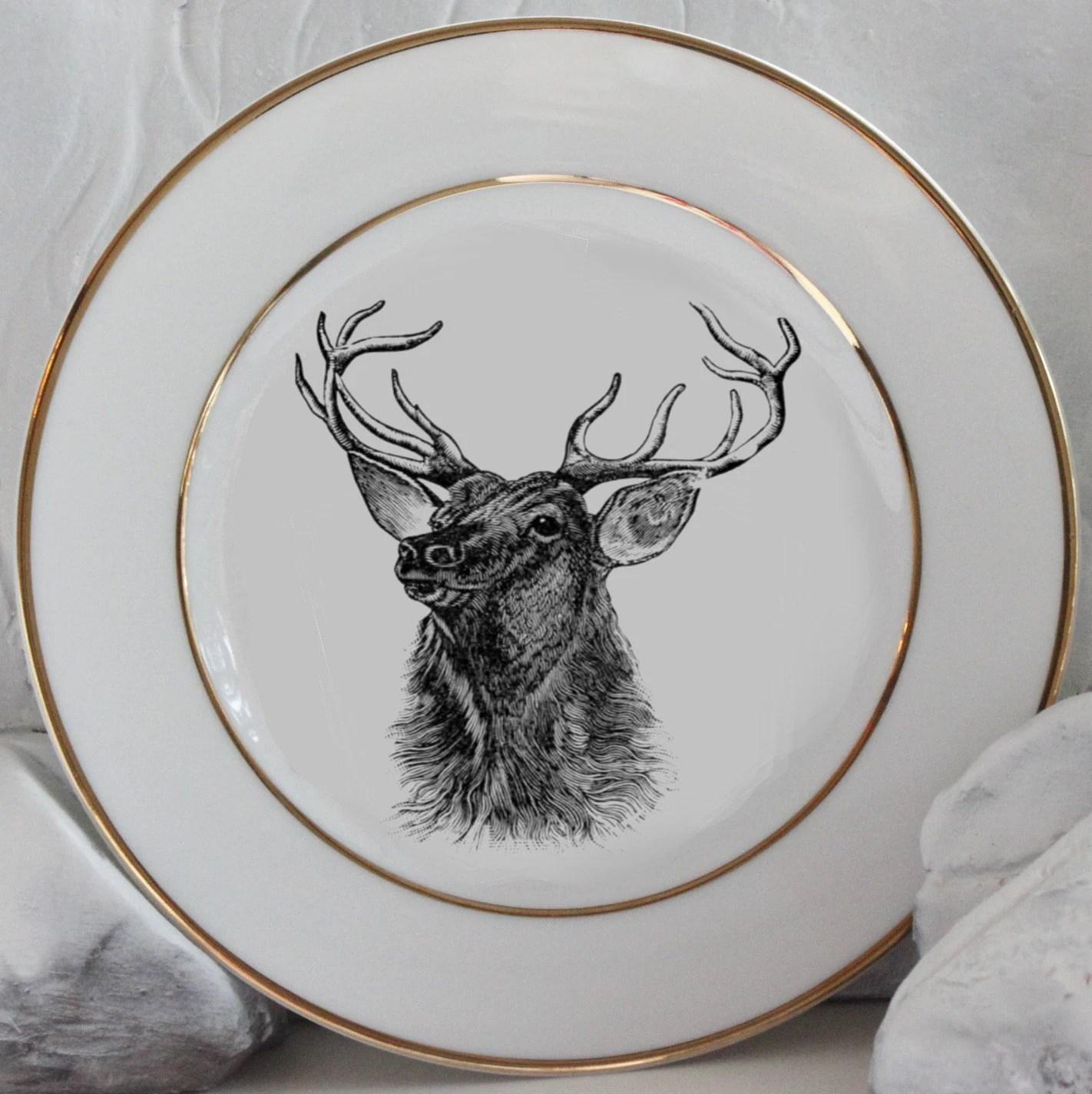 Gold Deer / Reindeer Plates, Dinnerware, Dishes, Customized