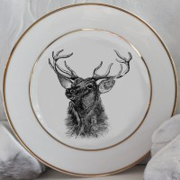 Gold Deer / Reindeer Plates, Dinnerware, Dishes, Customized