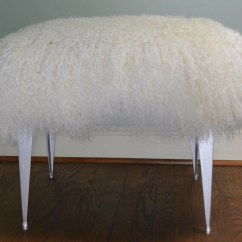 Vanity Chair White Fur Queen Anne Recliner Chairs Mongolian Lamb Bench Stool Seat Ottoman Tibet Wool