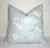 Decorative Pillow Light Blue Floral Print Pillow Cover Blue