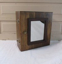 Solid Wood Medicine Cabinet Mirrored Bathroom Cupboard