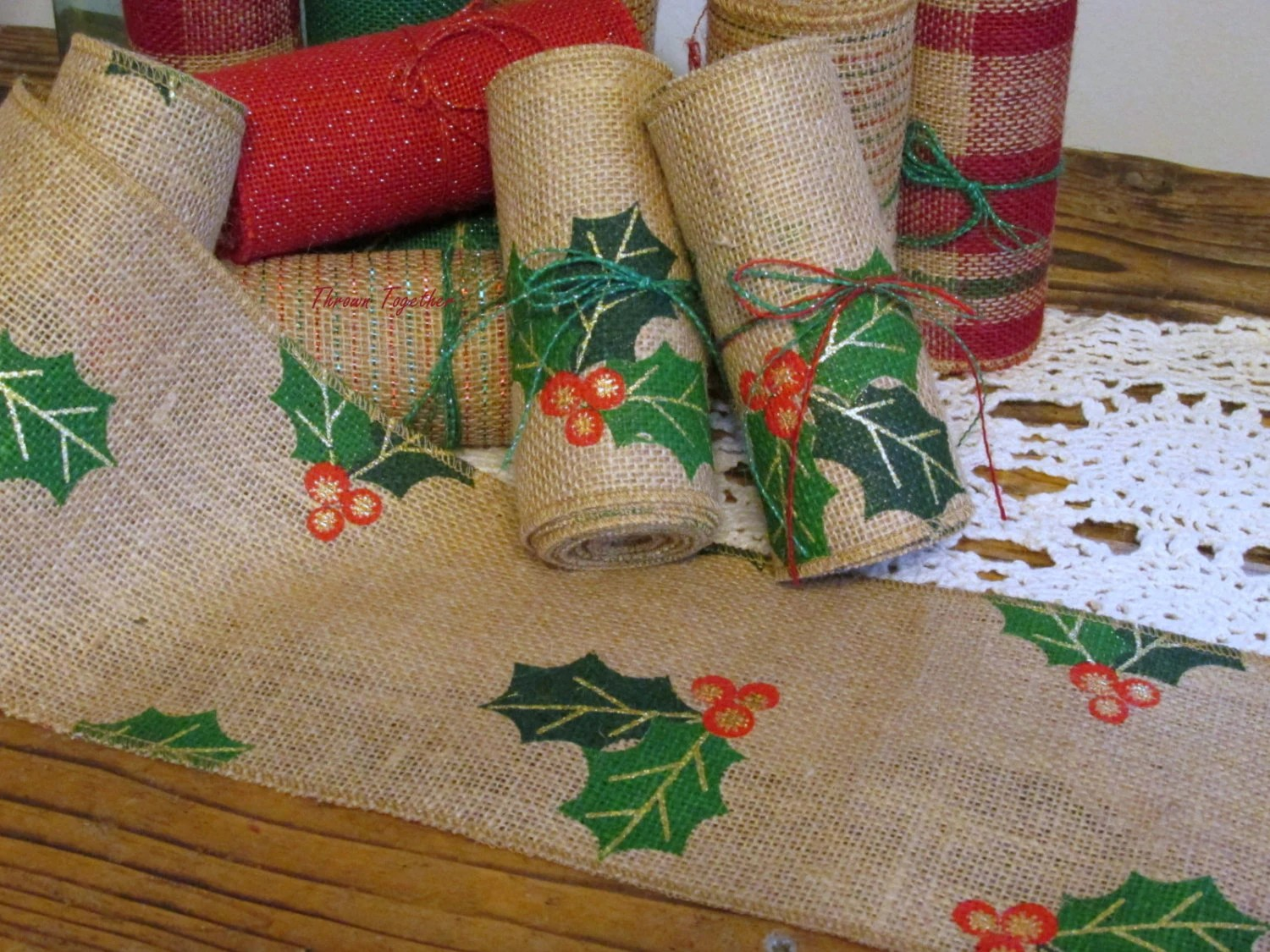 burlap chair sashes canada buffalo check christmas holly ribbon garland 5in wide by