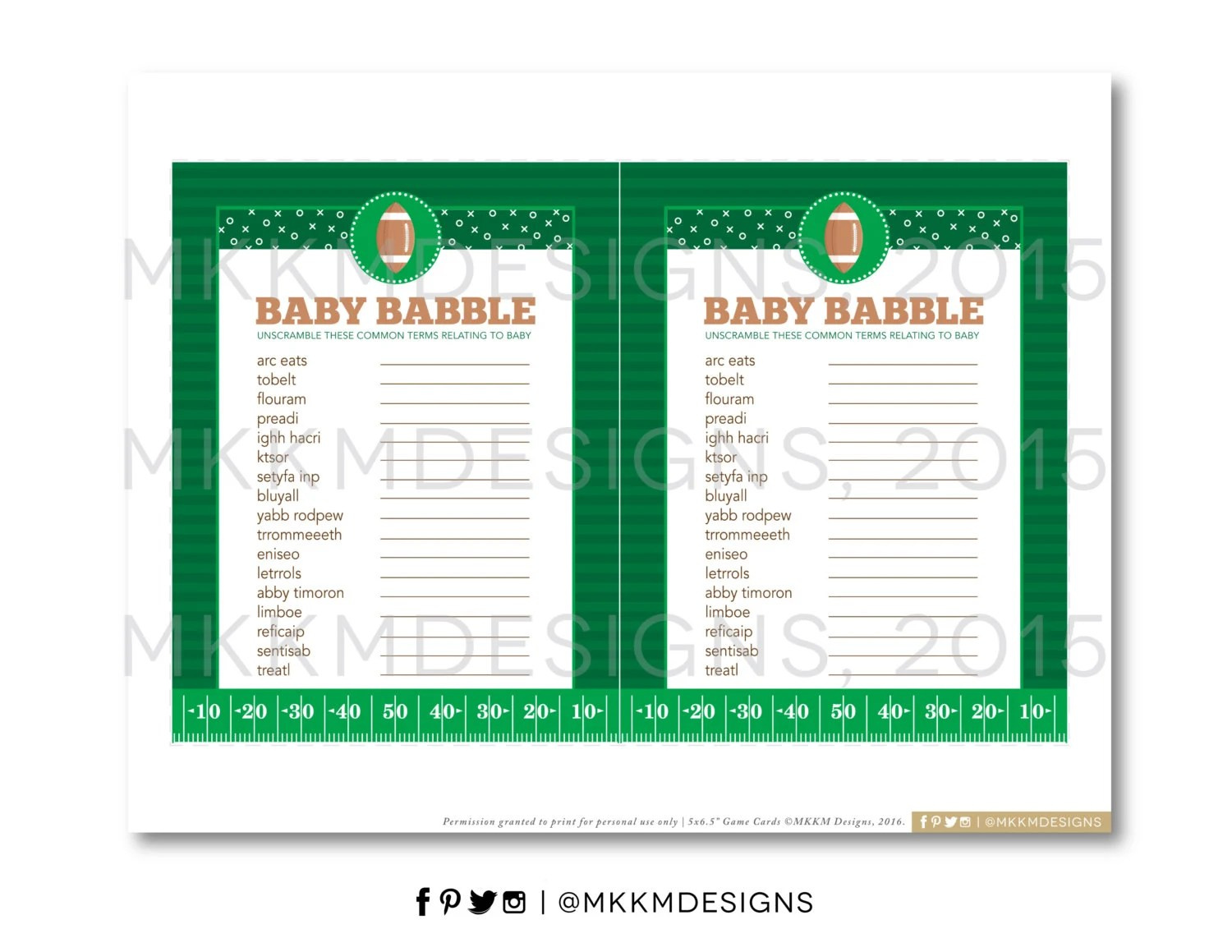 Baby Babble Word Scramble Football Baby Shower Sports Baby