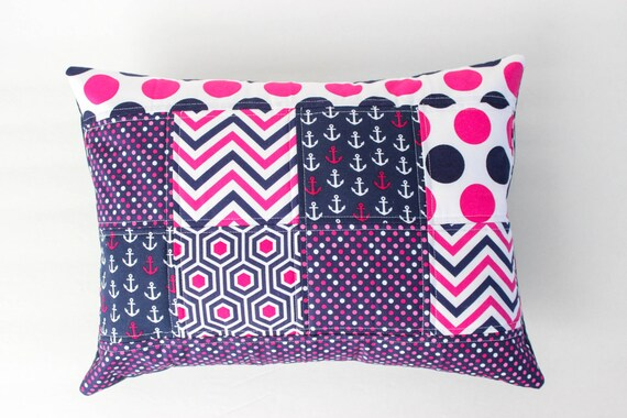 Nautical Pillow Cover Navy And Hot Pink Nursery Pillow Cover
