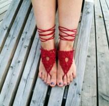 Red Boho Beach Barefoot Sandals Wedding