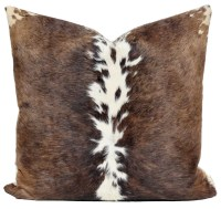 Cowhide Pillow Cow Hide Leather Brown White Pelt