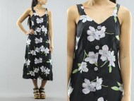 Floral Print Button Summer Midi Maxi Tank Dress Womens