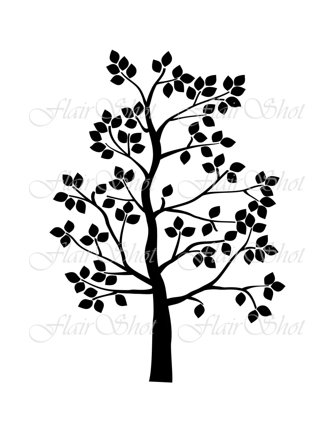 Digital Tree Clip Art, Family Tree Clipart, Silhouette