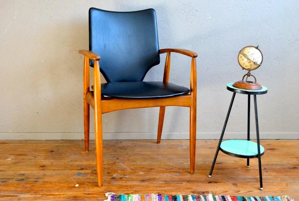 Fauteuil de bureau scandinave pi tement fuseau teck ann es 60 design vintage - Chaise bureau scandinave ...