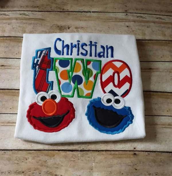 Elmo 2nd Birthday Tshirt Cookie Monster Stitchncafe